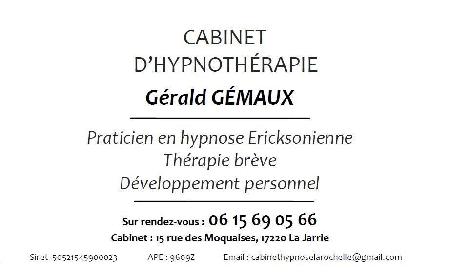 Centre d hypnose la rochelle gerald gemaux cabinet hypnotherapeute carte de visite